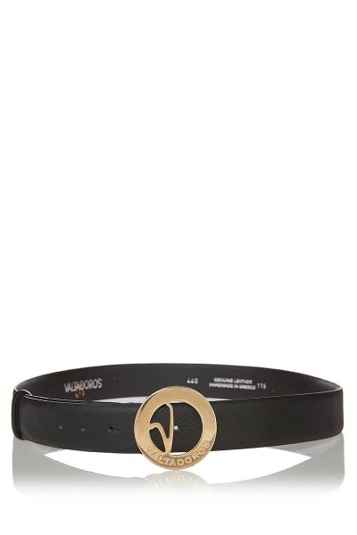 Dollaro Print Leather Belt with Big Gold Buckle