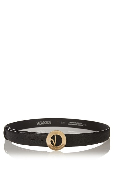 Dollaro Print Leather Belt with Small Gold Buckle