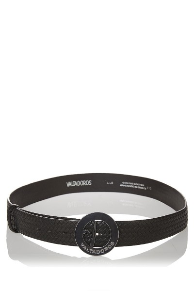Knitted Print Leather Belt with Big Silver Buckle