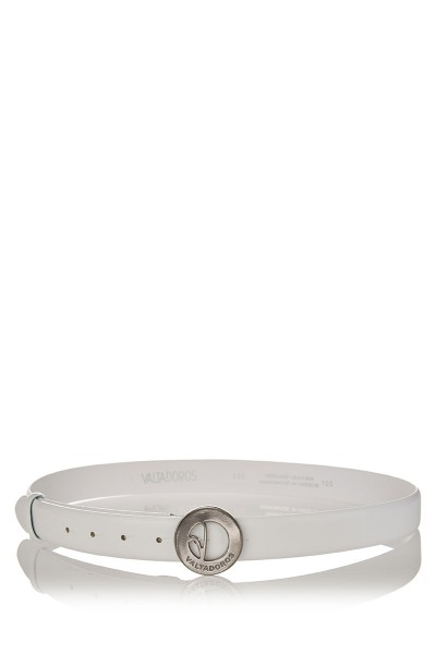 Patent Leather Belt with Small Silver Buckle