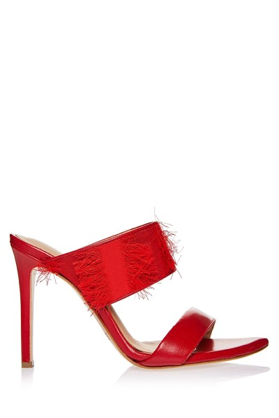 Heeled Mule Sandals With Fringe Textile Upper