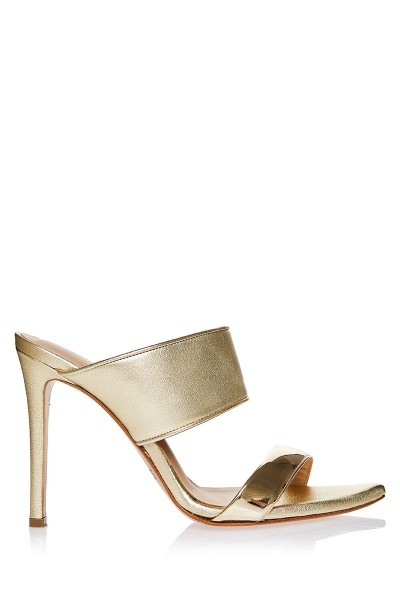 Heeled Mule Sandals With Lacquered Leather Upper