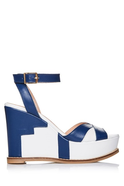 Geometric Platform Wedge Sandals With Criss-Cross Ankle Strap
