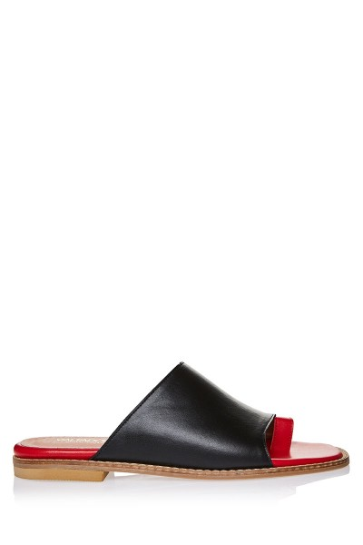 Colour-Blocking Flat Slides With Toe Ring