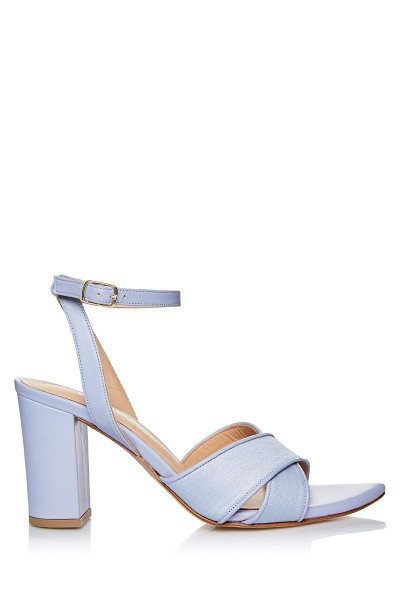 Block Heel Sandals With Crossover Upper In Pearl Finish Textile
