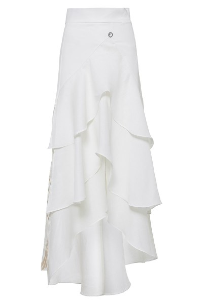 Asymmetrical Ruffled Maxi Skirt