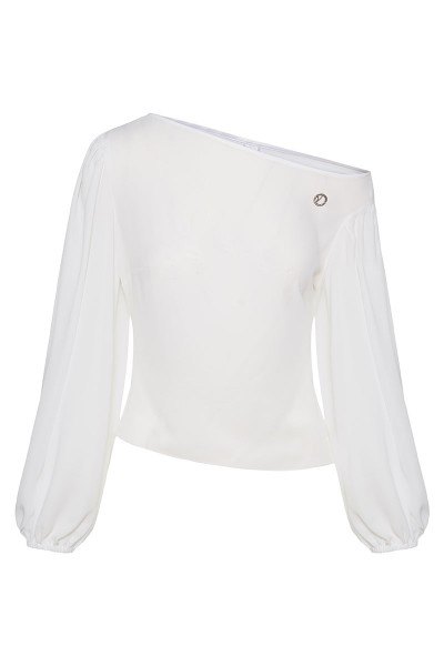 Cold Shoulder Blouse With Puffed Sleeves