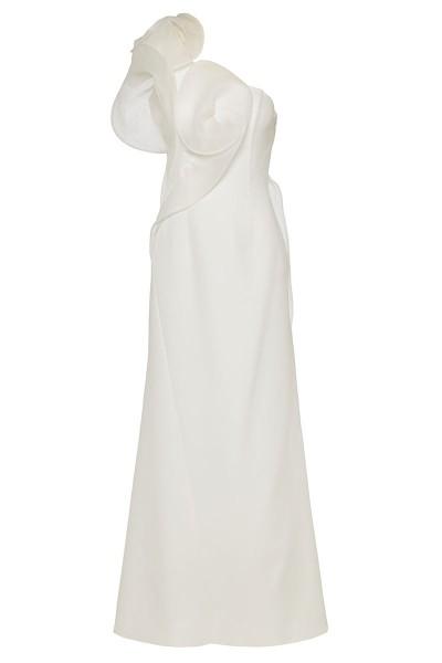 One-Shoulder Maxi Dress With Flower Motifs