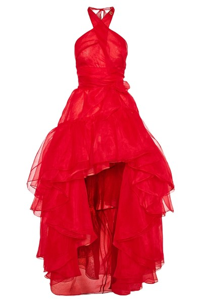 Crossover Halter Neck Organza Dress With High-Low Hem