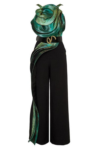 Structured Neckline Backless Jumpsuit With 3D Details