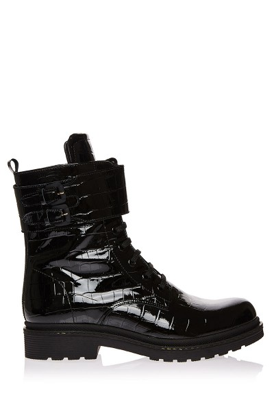 Mid-Calf Biker Boots In Croc Patent Leather