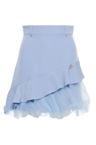 Crepe Skirt With Asymmetric Organza Balloon Hem