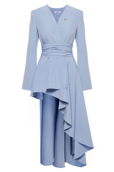 Long Sleeved Belted Jacket With Asymmetric Tiered Ruffle Inset Skirt