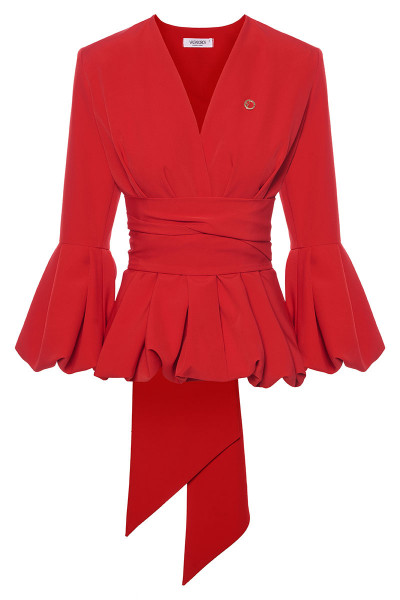 Short Balloon Jacket With Impressive Slevees And Inset Belts