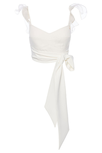 Wraparound Bralet Top With Organza Ruffles And Long Inset Belts
