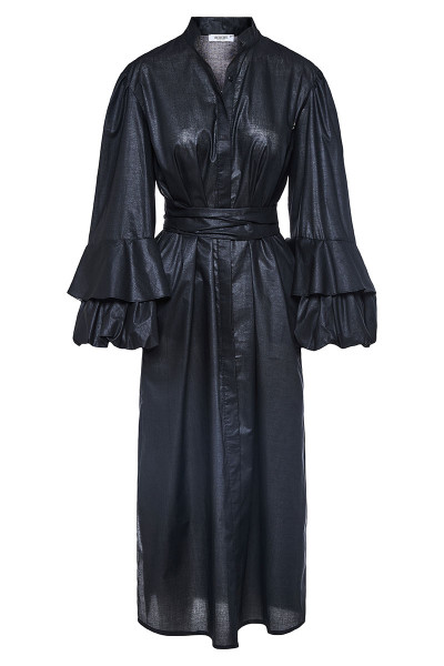 Midi Semizie Dress With Impressive Balloon Sleeves And Inset Belts