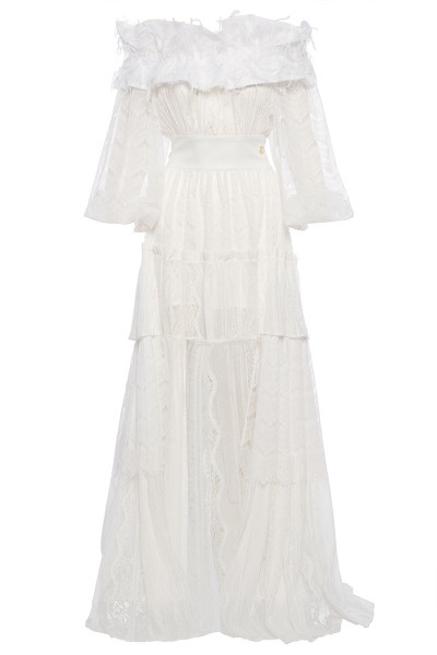 Off-The-Shoulder Tiered Ruffle Lace Dress With Asymmetric Hem And Fringe Detailed Neckline