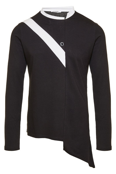 Asymmetric Color Block Long Sleeve T-Shirt