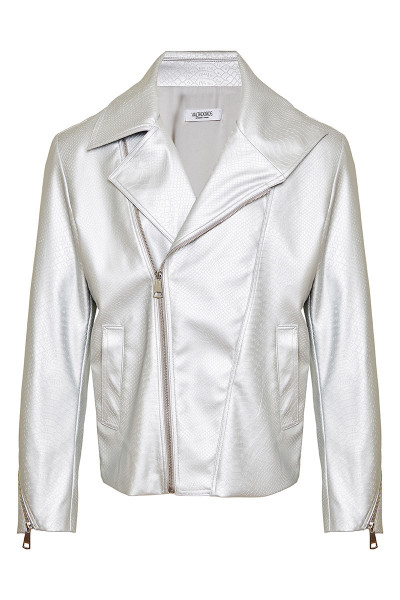 Snake Effect Faux Leather Biker Jacket