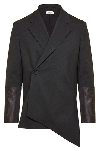 Asymmetric Cross Button Blazer With Leather Cuff Detail