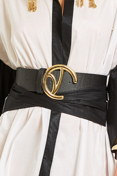 Textured-Leather Belt With Big Gold Monogram Buckle