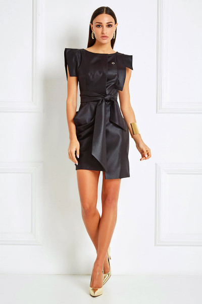 Boxy Shoulders Sheath Dress With Cowl Draped Detail