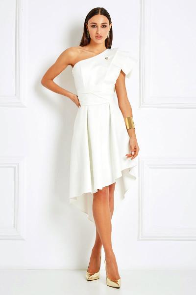 Asymmetrical Pleated Dress With Geometric One-Shoulder Neckline