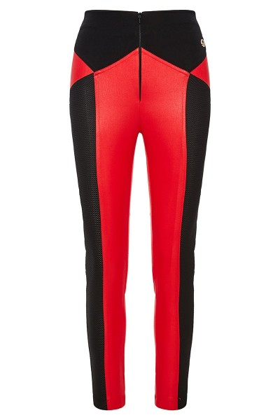 High Rise Stretch Pants With Textured Leather Finish
