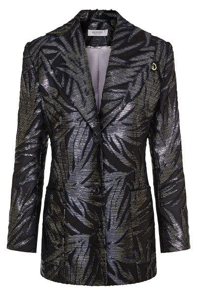 Floral Velvet Jacquard Blazer With Different Lapels