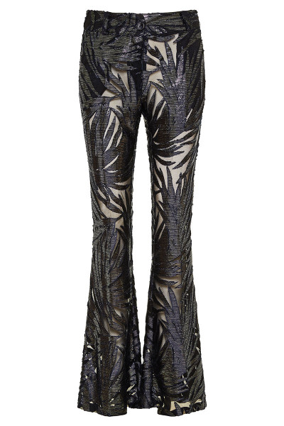 Floral Velvet Jacquard Semi-Transparent Flared Pants