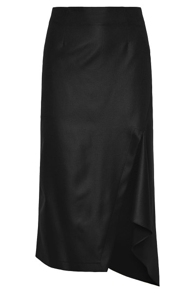 Faux Leather Fitted Asymmetric Midi Skirt With Side-Slit