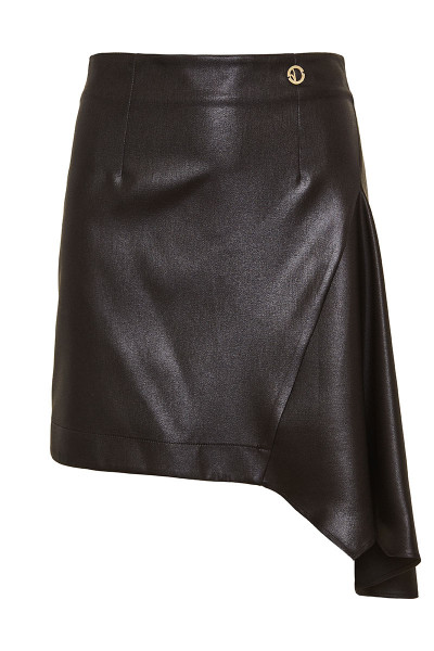 Faux Leather Fitted Asymmetric Mini Skirt