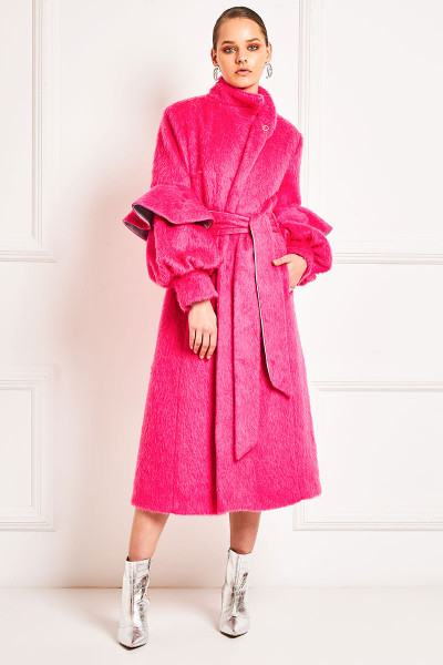 Ruffled Sleeves Faux Fur Wool Blend Coat