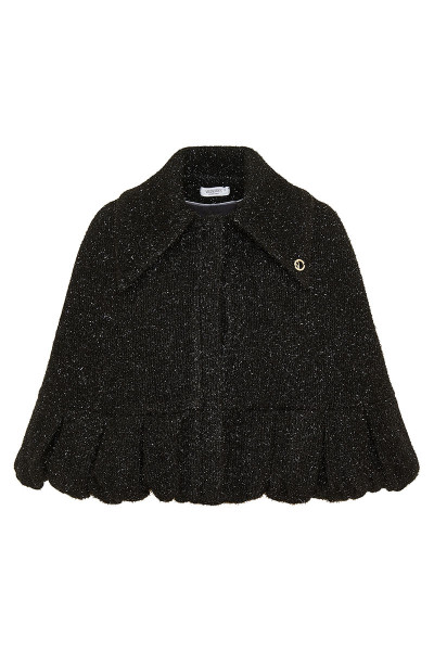 Shinny Faux Fur Wool Blend Cape