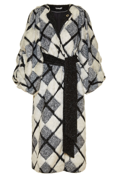 Puffed Sleeves Shinny Checked Faux Fur Coat