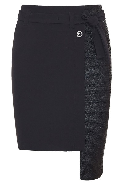 Asymmetric Mini Skirt With Ruched Leather Detail