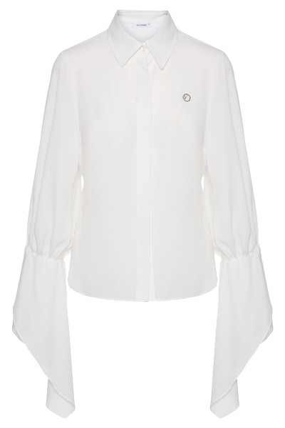 Cotton Voile Shirt With Vertical Ruffle Trim Puffed Sleeves