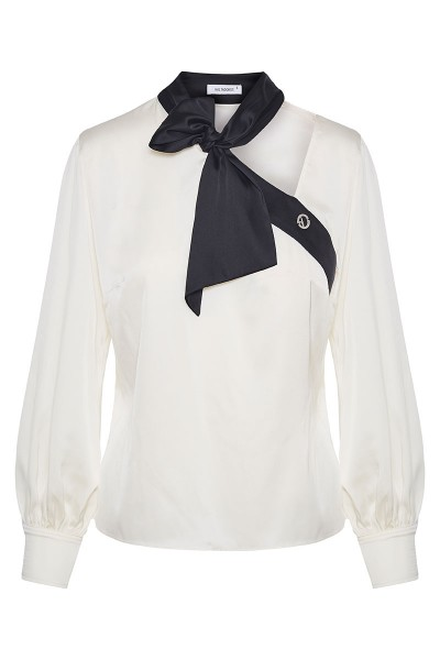 Satin Blouse With Lacing Collar