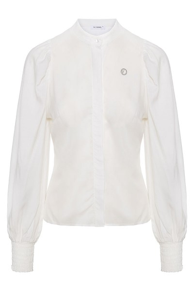 Cotton Voile Shirt With Mao Collar And Puffed Sleeves