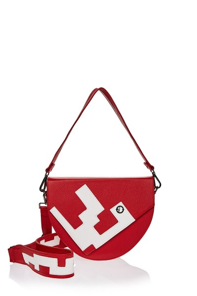 Applique Saddle Bag With Interchangeable Straps