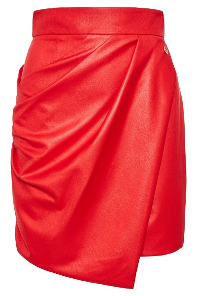 Fitted Sarong Skirt With Asymmetric Draped Overlap