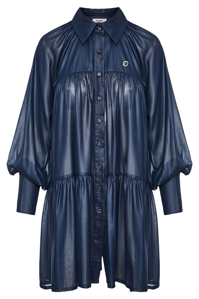 Tiered Ruffled Shirt Dress With Draped Puff Sleeves