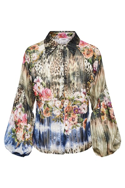 Collared Printed Shirt With Bishop Sleeves