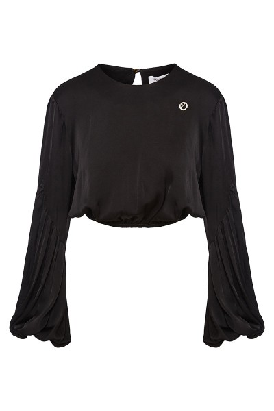 Crop Top With Round Neckline And Bishop Sleeves