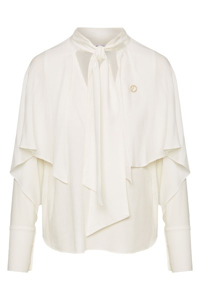 Plunging Tie-Front Blouse With Cuffed Cape Sleeves