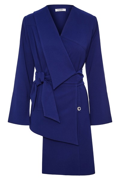 Asymmetric Double Breasted Belted Jacket With One Lapel