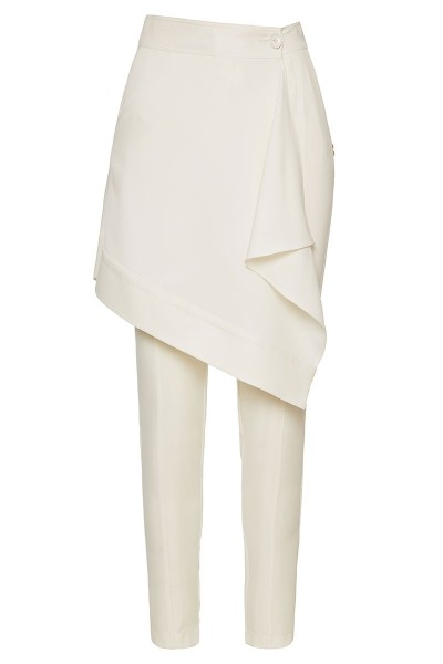 Layered Cigarette Pants With Leather Trim Flounce