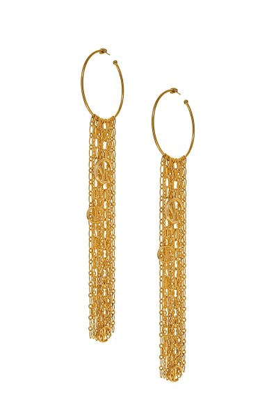 Valtadoros Hoop Earrings With Dangling Long Chains