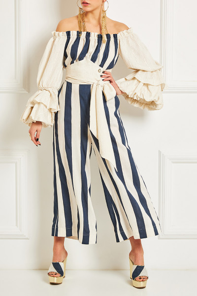 Off-The-Shoulder Crop Jumpsuit With Impressive Sleeves And Inset Belts