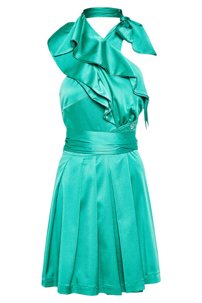 Crossover Halter Neck Dress With Ruffle Detail